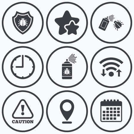 fumigation: Clock, wifi and stars icons. Bug disinfection icons. Caution attention and shield symbols. Insect fumigation spray sign. Calendar symbol.
