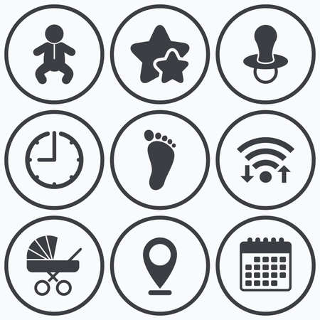 baby foot: Clock, wifi and stars icons. Baby infants icons. Toddler boy with diapers symbol. Buggy and dummy signs. Child pacifier and pram stroller. Child footprint step sign. Calendar symbol.