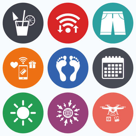 swimming trunks: Wifi, mobile payments and drones icons. Beach holidays icons. Cocktail, human footprints and swimming trunks signs. Summer sun symbol. Calendar symbol.
