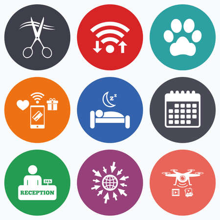 quiet room: Wifi, mobile payments and drones icons. Hotel services icons. With pets allowed in room signs. Hairdresser or barbershop symbol. Reception registration table. Quiet sleep. Calendar symbol.