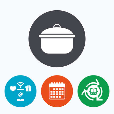 boil: Cooking pan sign icon. Boil or stew food symbol. Mobile payments, calendar and wifi icons. Bus shuttle. Illustration