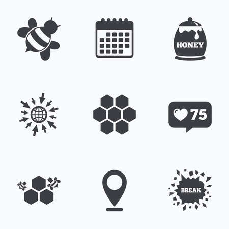 Calendar, like counter and go to web icons. Honey icon. Honeycomb cells with bees symbol. Sweet natural food signs. Location pointer. Illustration