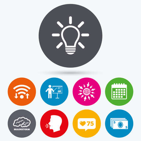 standing lamp: Wifi, like counter and calendar icons. Presentation billboard, brainstorm icons. Cash money and lamp idea signs. Man standing with pointer. Scheme and Diagram symbol. Human talk, go to web. Illustration