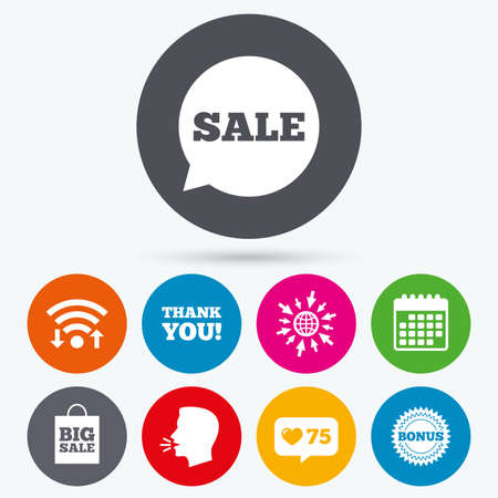 talk big: Wifi, like counter and calendar icons. Sale speech bubble icon. Thank you symbol. Bonus star circle sign. Big sale shopping bag. Human talk, go to web.