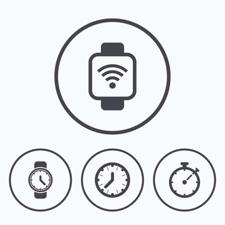 digital timer: Mechanical clock time, Stopwatch timer symbols. Wrist digital watch sign. Icons in circles.