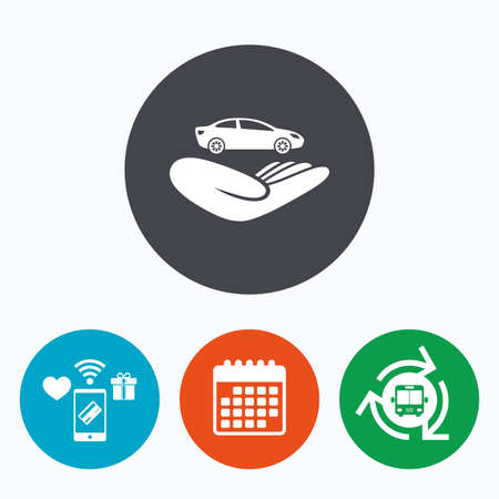 gift accident: Car insurance sign icon. Hand holds transport. Protection vehicle from damage and accidents. Mobile payments, calendar and wifi icons. Bus shuttle. Illustration