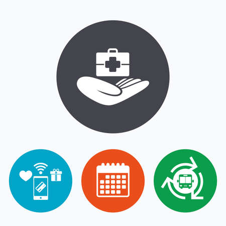 doctor holding gift: Medical insurance sign icon. Health insurance. Doctor case. Mobile payments, calendar and wifi icons. Bus shuttle.