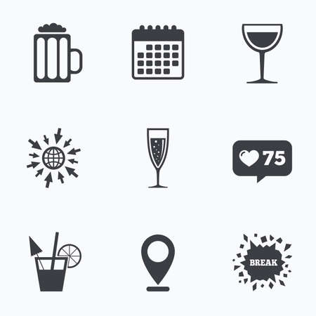 alcoholic drinks: Calendar, like counter and go to web icons. Alcoholic drinks icons. Champagne sparkling wine with bubbles and beer symbols. Wine glass and cocktail signs. Location pointer.