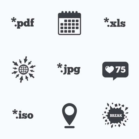 Calendar, like counter and go to web icons. Document icons. File extensions symbols. PDF, XLS, JPG and ISO virtual drive signs. Location pointer. Illustration