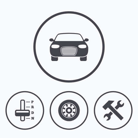 automatic transmission: Transport icons. Car tachometer and automatic transmission symbols. Repair service tool with wheel sign. Icons in circles.
