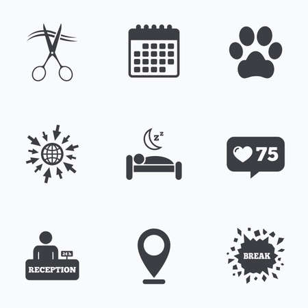 quiet room: Calendar, like counter and go to web icons. Hotel services icons. With pets allowed in room signs. Hairdresser or barbershop symbol. Reception registration table. Quiet sleep. Location pointer.