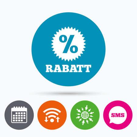 Wireless-LAN, Sms und Kalenderikonen. Rabatt - Rabatte auf Deutsch Zeichen-Symbol. Stern mit Prozentsatz Symbol. Zum Web-Welt. Standard-Bild - 58571948