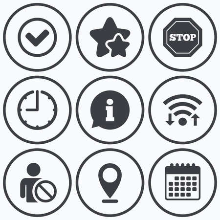 Clock, wifi and stars icons. Information icons. Stop prohibition and user blacklist signs. Approved check mark symbol. Calendar symbol. Illustration