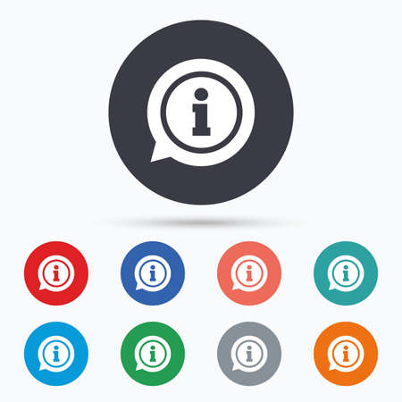 information symbol: Information sign icon. Info symbol. Flat information icon. Simple design information symbol. Information graphic element. Circle buttons with information icon. Vector
