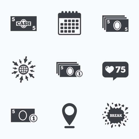 withdrawals: Calendar, like counter and go to web icons. Businessman case icons. Currency with coins sign symbols. Location pointer. Illustration