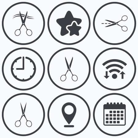 cut hair: Clock, wifi and stars icons. Scissors icons. Hairdresser or barbershop symbol. Scissors cut hair. Cut dash dotted line. Tailor symbol. Calendar symbol. Illustration