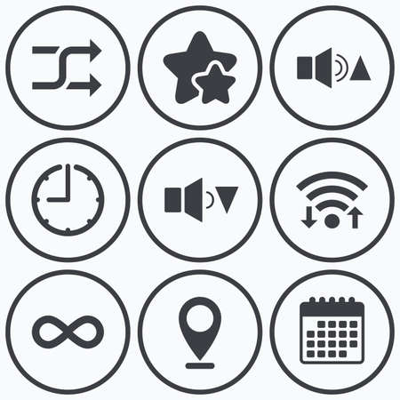 quieter: Clock, wifi and stars icons. Player control icons. Sound louder and quieter signs. Dynamic symbol. Shuffle random and repeat loop. Calendar symbol.