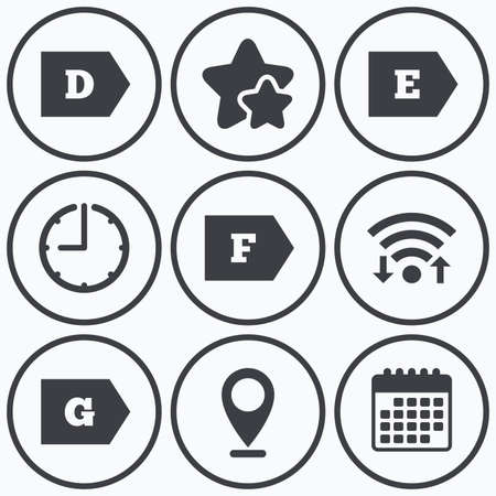economy class: Clock, wifi and stars icons. Energy efficiency class icons. Energy consumption sign symbols. Class D, E, F and G. Calendar symbol.