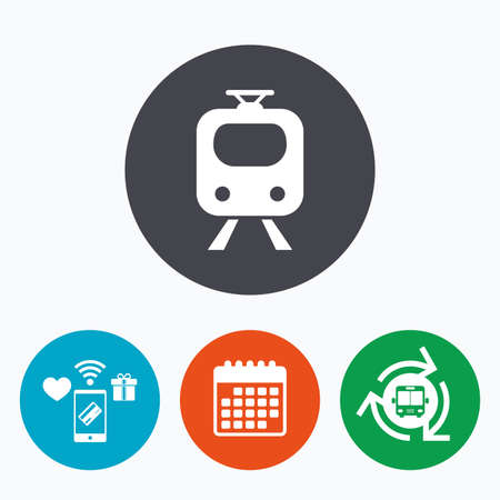 underground: Subway sign icon. Train, underground symbol. Mobile payments, calendar and wifi icons. Bus shuttle. Illustration