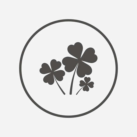 clovers: Clovers with four leaves sign. St Patrick symbol Flat clovers icon. Simple design clovers symbol. Clovers graphic element. Round button with flat clovers icon. Vector
