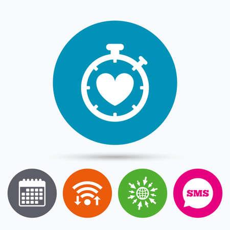 palpitation: Wifi, Sms and calendar icons. Heart Timer sign icon. Stopwatch symbol. Heartbeat palpitation. Go to web globe. Illustration