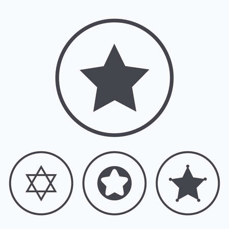 zion: Star of David icons. Sheriff police sign. Symbol of Israel. Icons in circles. Illustration