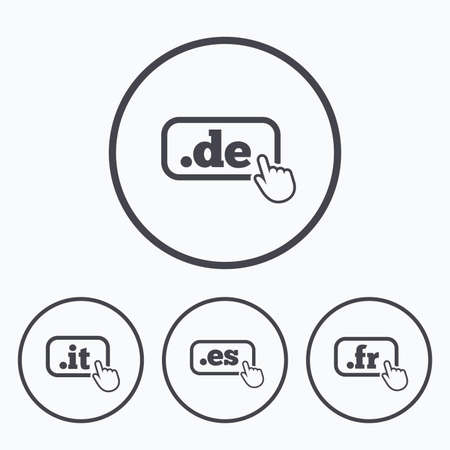 es: Top-level internet domain icons. De, It, Es and Fr symbols with hand pointer. Unique national DNS names. Icons in circles.