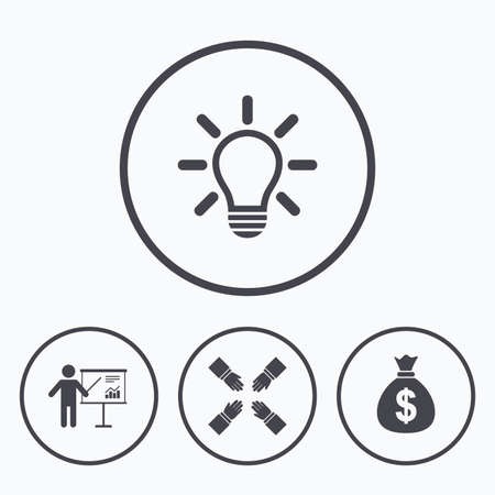 standing lamp: Presentation billboard icon. Dollar cash money and lamp idea signs. Man standing with pointer. Teamwork symbol. Icons in circles. Illustration