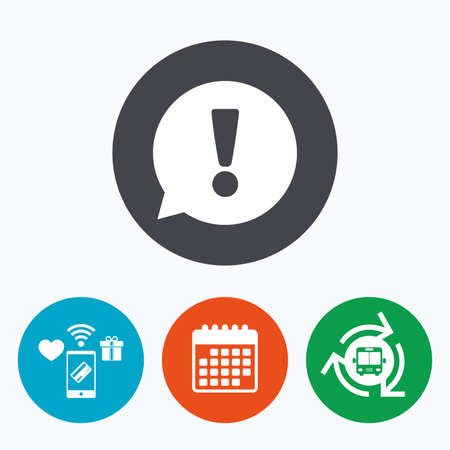 faq icon: Exclamation mark sign icon. Attention speech bubble symbol. Mobile payments, calendar and wifi icons. Bus shuttle. Illustration