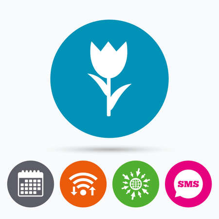 macro flower: Wifi, Sms and calendar icons. Flower sign icon. Rose symbol. Macro. Go to web globe. Illustration