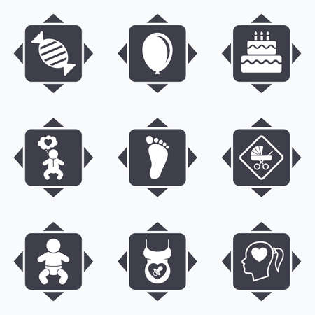 baby foot: Icons with direction arrows. Pregnancy, maternity and baby care icons. Candy, strollers and pacifier signs. Footprint, birthday cake and heart symbols. Square buttons. Illustration