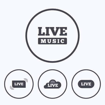 live stream music: Live music icons. Karaoke or On air stream symbols. Cloud sign. Icons in circles.