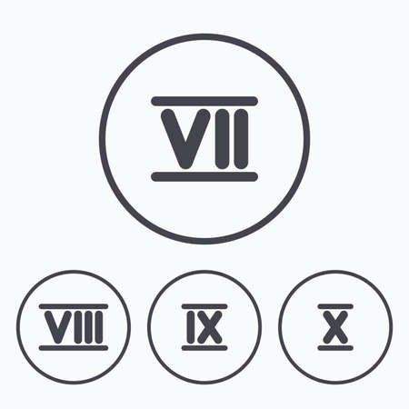 7 8: Roman numeral icons. 7, 8, 9 and 10 digit characters. Ancient Rome numeric system. Icons in circles. Illustration
