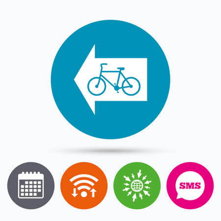 trail sign: Wifi, Sms and calendar icons. Bicycle path trail sign icon. Cycle path. Left arrow symbol. Go to web globe.