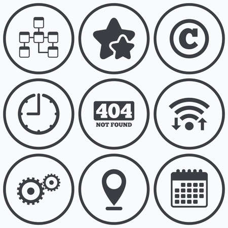 under construction symbol: Clock, wifi and stars icons. Website database icon. Copyrights and gear signs. 404 page not found symbol. Under construction. Calendar symbol.