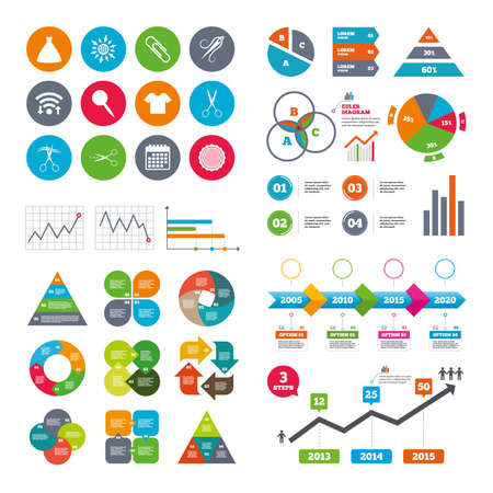 canva: Wifi, calendar and web icons. Tailor, sewing and embroidery icons. Scissors, safety pin and needle signs. Shirt and dress symbols. Diagram charts design.