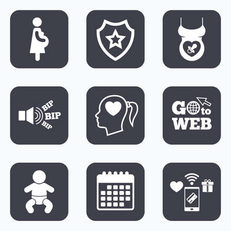 maternity: Mobile payments, wifi and calendar icons. Maternity icons. Baby infant, pregnancy and dummy signs. Child pacifier symbols. Head with heart. Go to web symbol. Illustration