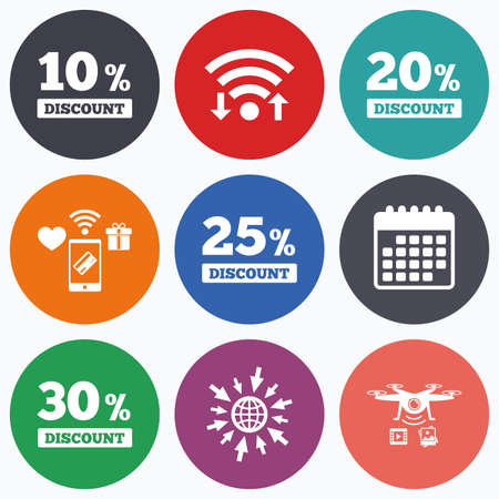 20 to 25: Wifi, mobile payments and drones icons. Sale discount icons. Special offer price signs. 10, 20, 25 and 30 percent off reduction symbols. Calendar symbol. Illustration