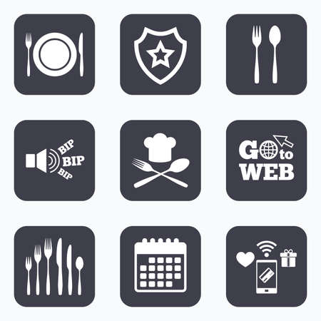 dessert fork: Mobile payments, wifi and calendar icons. Plate dish with forks and knifes icons. Chief hat sign. Crosswise cutlery symbol. Dessert fork. Go to web symbol.