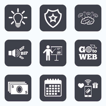 standing lamp: Mobile payments, wifi and calendar icons. Presentation billboard, brainstorm icons. Cash money and lamp idea signs. Man standing with pointer. Scheme and Diagram symbol. Go to web symbol.