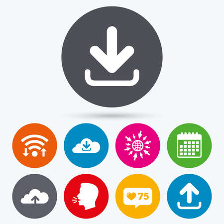 ftp servers: Wifi, like counter and calendar icons. Download now icon. Upload from cloud symbols. Receive data from a remote storage signs. Human talk, go to web.
