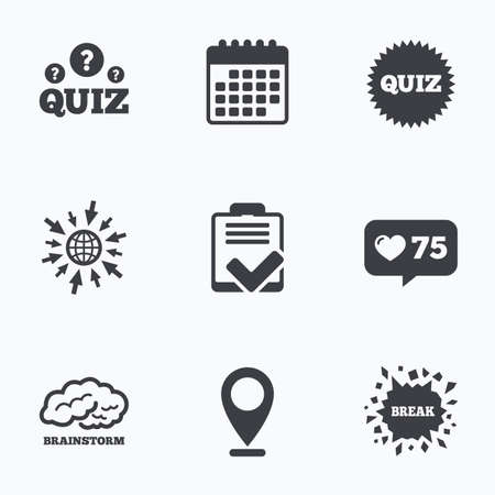 feedback form: Calendar, like counter and go to web icons. Quiz icons. Brainstorm or human think. Checklist symbol. Survey poll or questionnaire feedback form. Questions and answers game sign. Location pointer. Illustration
