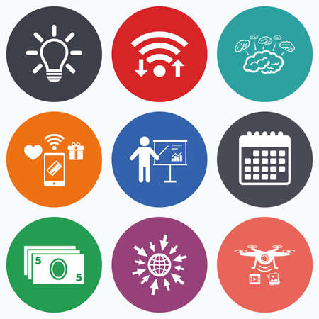 standing lamp: Wifi, mobile payments and drones icons. Presentation billboard, brainstorm icons. Cash money and lamp idea signs. Man standing with pointer. Scheme and Diagram symbol. Calendar symbol. Illustration