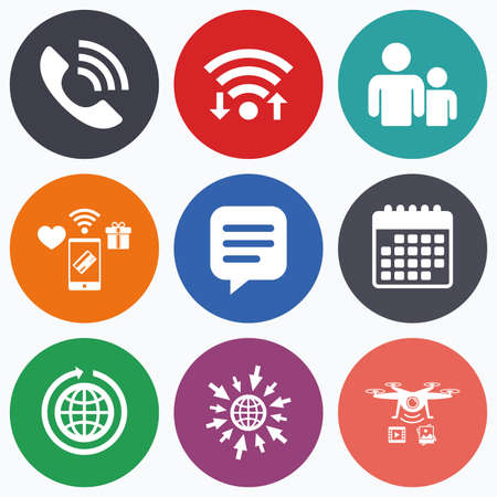 rang: Wifi, mobile payments and drones icons. Group of people and share icons. Speech bubble and round the world arrow symbols. Communication signs. Calendar symbol. Illustration