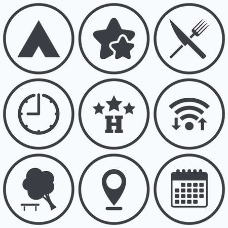break down: Clock, wifi and stars icons. Food, hotel, camping tent and tree icons. Knife and fork. Break down tree. Road signs. Calendar symbol.