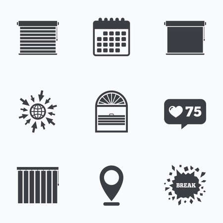 roll curtains: Calendar, like counter and go to web icons. Louvers icons. Plisse, rolls, vertical and horizontal. Window blinds or jalousie symbols. Location pointer. Illustration
