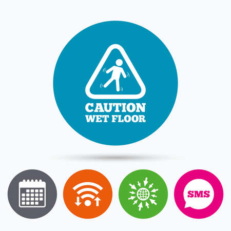 wet floor sign: Wifi, Sms and calendar icons. Caution wet floor sign icon. Human falling triangle symbol. Go to web globe. Illustration