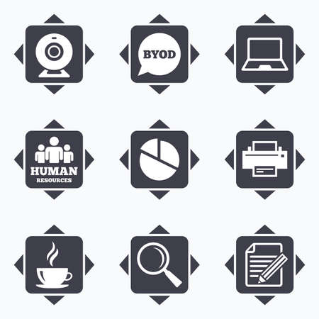 office buttons: Icons with direction arrows. Office, documents and business icons. Pie chart, byod and printer signs. Report, magnifier and web camera symbols. Square buttons.