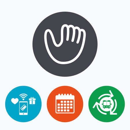 mitt: Baseball glove or mitt sign icon. Sport symbol. Mobile payments, calendar and wifi icons. Bus shuttle.