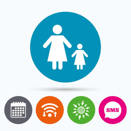 family with one child: Wifi, Sms and calendar icons. One-parent family with one child sign icon. Mother with daughter symbol. Go to web globe. Illustration